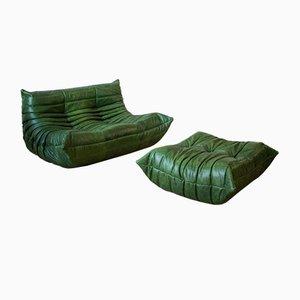 Grüner Leder Togo Sessel und Hocker Set von Michel Ducaroy für Ligne Roset, 1970er