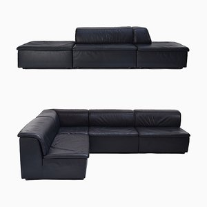 Large Belgian Dark Blue Leather Modular Lounge Sofa from Durlet, 1980s