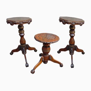 Vintage Carved Coffee Tables and Flower Stand, Set of 3