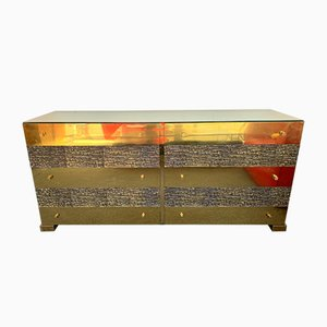 Italian Brass and Bronze Sideboard by Luciano Frigerio, 1970s