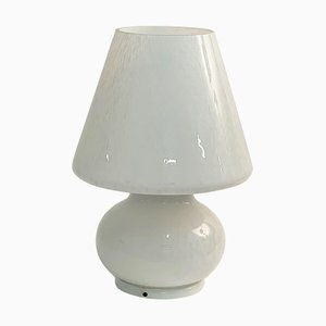 Mid-Century Italian White Murano Glass Table Lamp from Murano Vetri, 1970s