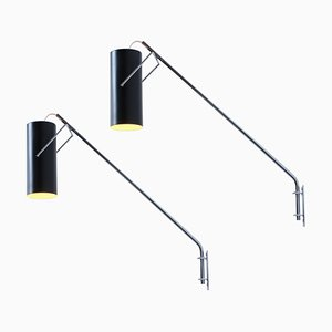 Black and Chrome Cylinder Tube Model Wall Lights from Raak, 1960s, Set of 2