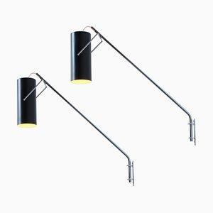 Schwarze und verchromte Rohr Modell Wandlampen von Raak, 1960er, 2er Set