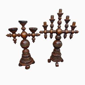 Bougeoirs Sculptés Mid-Century, Set de 2