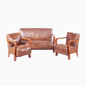Art Deco Brown Walnut & Leather Dining Chairs, 1930s, Set of 3