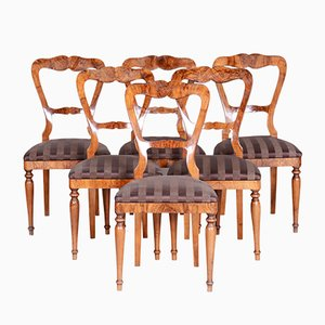 19th Century Biedermeier Walnut Dining Chairs, Austria, 1830s, Set of 6