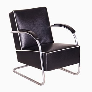 Black Tubular Steel Cantilever Armchairs from Mücke Melder, 1930s, Set of 2