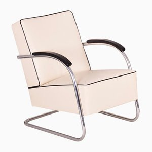 Ivory Tubular Steel Cantilever Chrome Armchair in Leather from Mücke Melder, 1930s