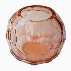 Vase Sphérique Art Déco en Cristal Rosalin, 1920s