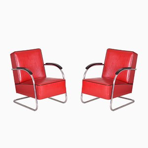 Red Tubular Steel Cantilever Armchairs in Chrome & Upholstery from Mücke Melder, 1930s, Set of 2