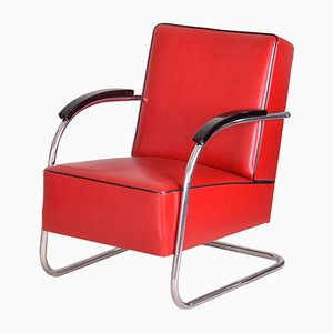 Red Tubular Steel Cantilever Chrome Armchair in Leather from Mücke Melder, 1930s
