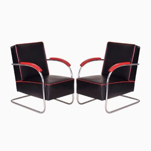 Black Tubular Steel Cantilever Armchairs in Chrome & Upholstery from Mücke Melder, 1930s, Set of 2
