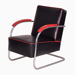Black Tubular Steel Cantilever Armchair in Chrome & Leather from Mücke Melder, 1930s