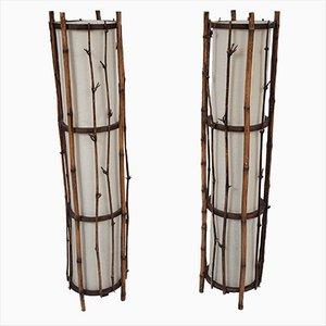 Lampada da terra vintage in bambù nello stile di Louis Sognot