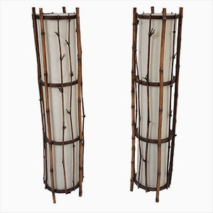 Vintage Bamboo Floor Lamp in the Style of Louis Sognot