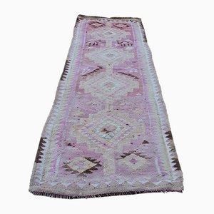 Vintage Turkish Handmade Pink Woolen Kilim Runner Rug, 1970s