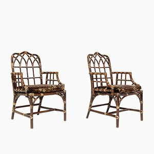 Bamboo Model M-118 Host Chairs by Elinor McGuire for McGuire, 1970s, Set of 2