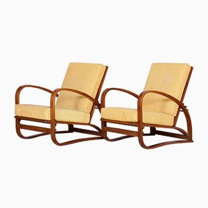 Art Deco Oak Armchairs by Jindřich Halabala for UP Závody, 1930s, Set of 2