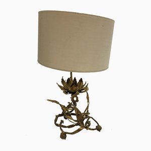 Brutalist Brass Lotus Table Lamp from Moerenhout Paul, 1970s