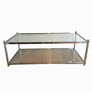 Table Basse en Chrome & Métal Doré, 1970s