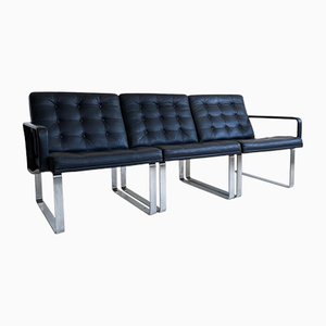 Mid-Century Black Leather Modular Sofa by Ole Gjerløv-Knudsen & Torben Lind for Cado, 1960s