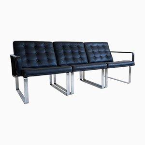 Mid-Century Black Leather Modular Sofa by Ole Gjerløv-Knudsen & Torben Lind for Cado, 1960s