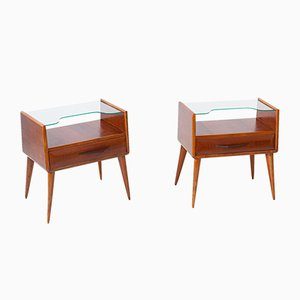 Italian Wooden Nightstands with Glass Top, 1950s, Set of 2