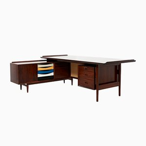 Danish Rosewood Desk with Sideboard by Arne Vodder for Sibast, 1960s