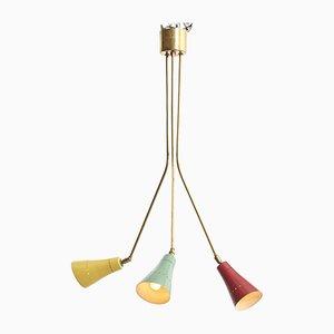 Italienische Mid-Century Messing Deckenlampe, 1950er