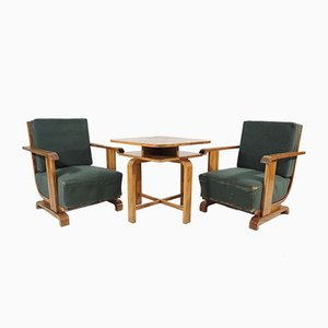 Art Deco Sessel und Tisch Set, 1940er