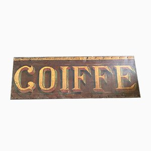 19th Century French Hand-Painted Coiffe Advertising Sign