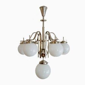 Ungarische Art Deco Deckenlampe aus Chrom & Glas, 1930er