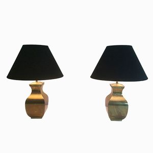 Post-Modern Brass Table Lamps, Set of 2
