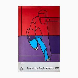 Große Münchner Olympische Spiele Poster von Valerio Adami, 1970er