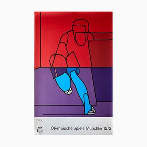 Large Munich Olympic Games Poster by Valerio Adami, 1970s