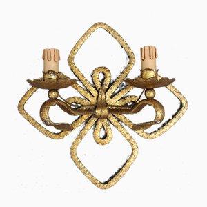 4-flügelige Clover Wandleuchte aus handgeschmiedetem & vergoldetem Eisen von Pier Luigi Colli, 1950er