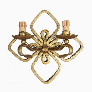 Hand Forged and Gilded Iron Four-leaf Clover Sconce by Pier Luigi Colli, 1950s