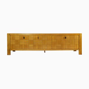 Large Brutalist Graphic Oak Sideboard by De Coene, Belgium, 1970s