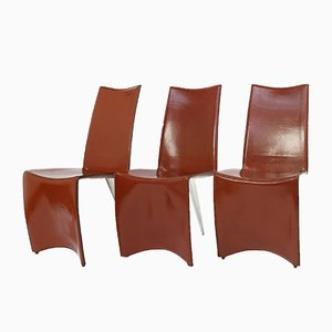 Cognac Leather Ed Archer Dining Chairs by Philippe Starck for Aleph, Italy, 1980s, Set of 6