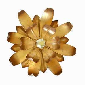 Vintage Italian Hollywood Regency Flower Ceiling Lamp