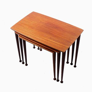 Vintage Teak Drumstick Nesting Tables by Cees Braakman for Pastoe, 1950s