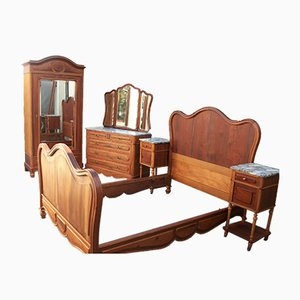 Antique Walnut Dressing Table & Cabinets, 1900s, Set of 3
