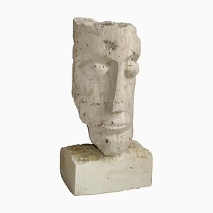 Cubist Carved Stone Sculpture Depicting a Man Head by Mihai Vatamanu, 1960s