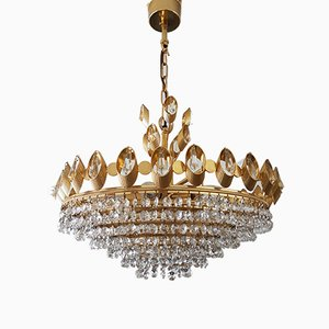 Hollywood Regency Gilt Brass & Crystal Chandelier from Palwa, 1960s