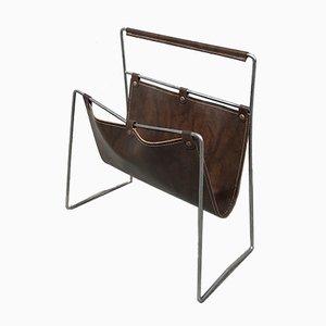 Revistero vintage de acero inoxidable y cuero, años 60