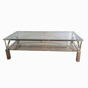 Tavolino da caffè vintage in metallo cromato