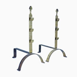 Mid-Century Brass Andirons, Set of 2