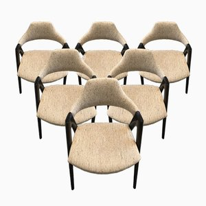 Mid-Century Danish Compass Armchairs by Kai Kristiansen for SVA Møbler, 1960s, Set of 6