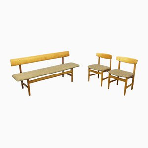 Danish Model 3171 Bench and Chairs Set by Børge Mogensen, 1960s