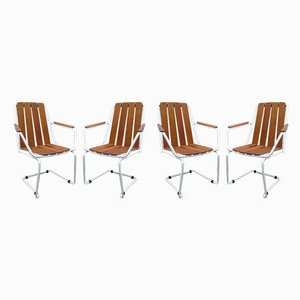 Mid-Century Danish Stackable Teak & Cantilever Garden Chairs from Daneline, Set of 4
